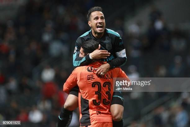 Camilo Da Silva and Gil Alcala of Queretaro celebrate during the round of 16th between Monterrey and Queretaro as part of the Copa MX Clausura 2018...