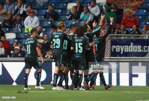 Camilo Da Silva of Queretaro celebrates with teammates during the round of 16th between Monterrey and Queretaro as part of the Copa MX Clausura 2018...