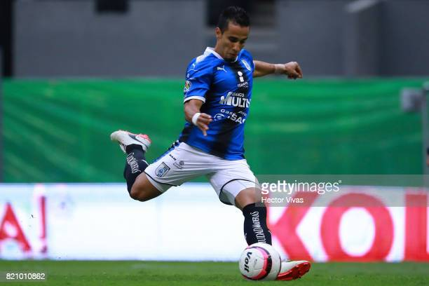 Camilo Da Silva of Queretaro shoots a penalty shot during the 1st round match between America and Queretaro as part of the Torneo Apertura 2017 Liga...