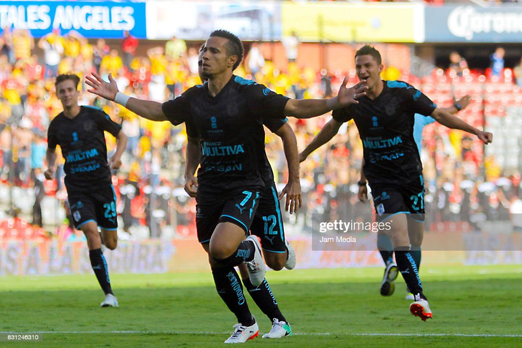 Camilo Da Silva Sanvezzo (C) of Queretaro celebrates the second goal of his team during the 4th round match between Queretaro and Morelia as part of the Torneo Apertura 2017 Liga MX at Corregidora Stadium on August 12, 2017 in Mexico City, Mexico.