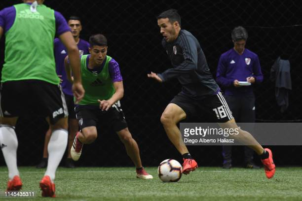 Camilo Mayada and Exequiel Palacios of River Plate during a training session at CAT Alfredo Gottardi on May 21 2019 in Curitiba Brazil River Plate...
