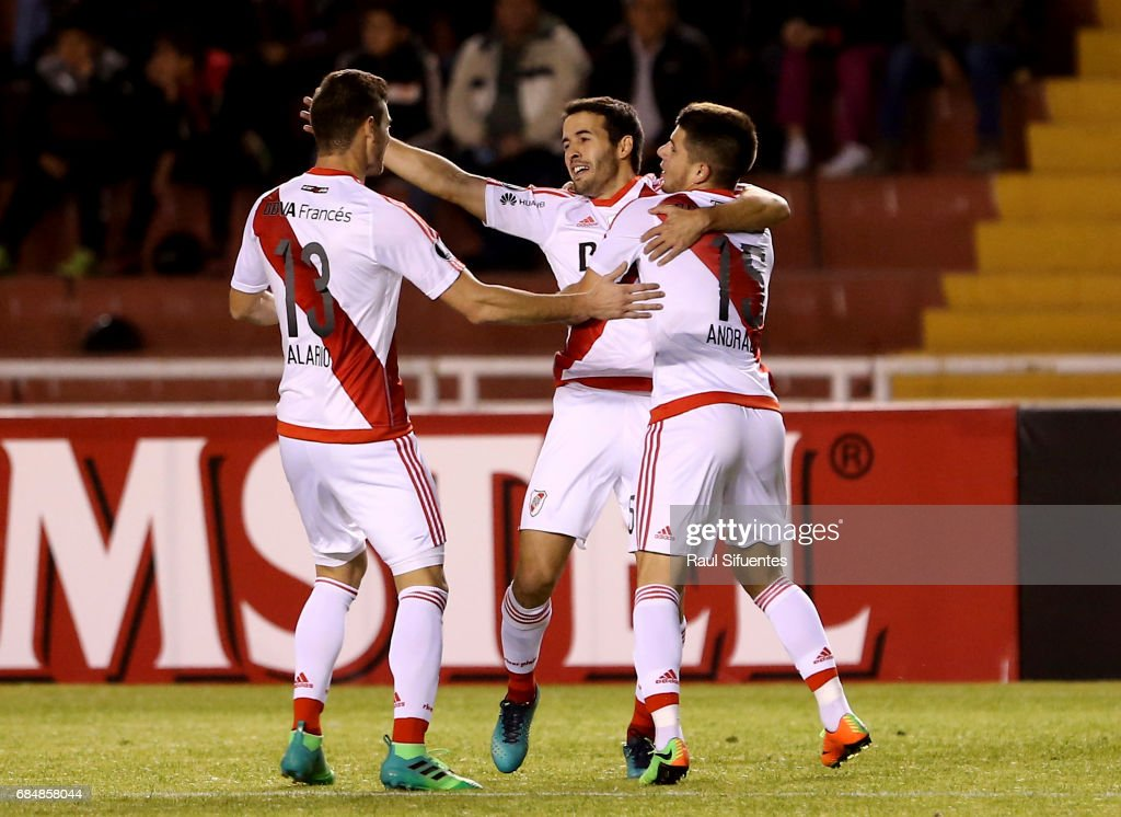 Camilo Mayada of River Plate celebrates after scoring the second goal of his team during a group stage match between FBC Melgar and River Plate as part of Copa CONMEBOL Libertadores Bridgestone 2017 at Monumental de la UNSA Stadium on May 18, 2017 in Arequipa, Peru.