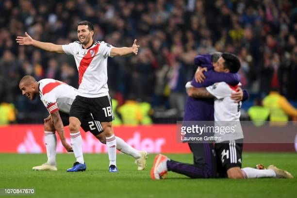 Camilo Mayada of River Plate celebrates following his sides victory in the second leg of the final match of Copa CONMEBOL Libertadores 2018 between...