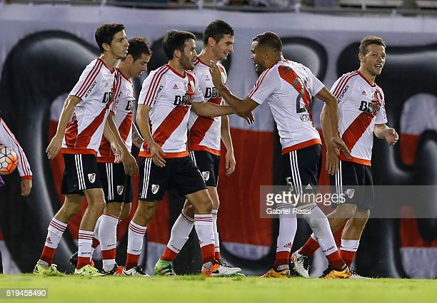 Camilo Mayada of River Plate celebrates with teammates after scoring the third goal of his team during a match between River Plate and The Strongest...