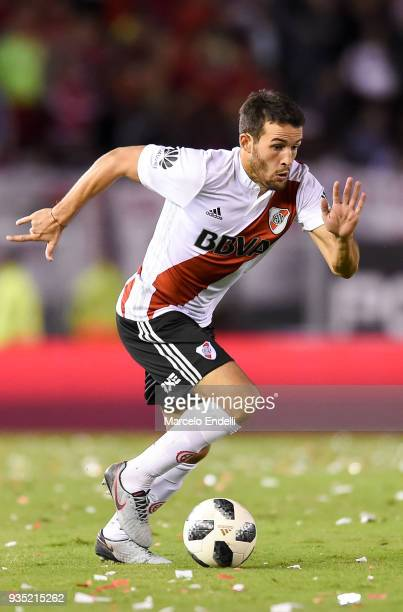 Camilo Mayada of River Plate drives the ball during a match between River Plate and Belgrano as part of Superliga 2017/18 at Monumental Antonio...