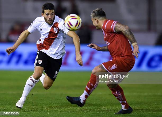 Camilo Mayada of River Plate fights for the ball with Pablo Alvarez of Huracan during a match between Huracan and River Plate as part of Superliga...