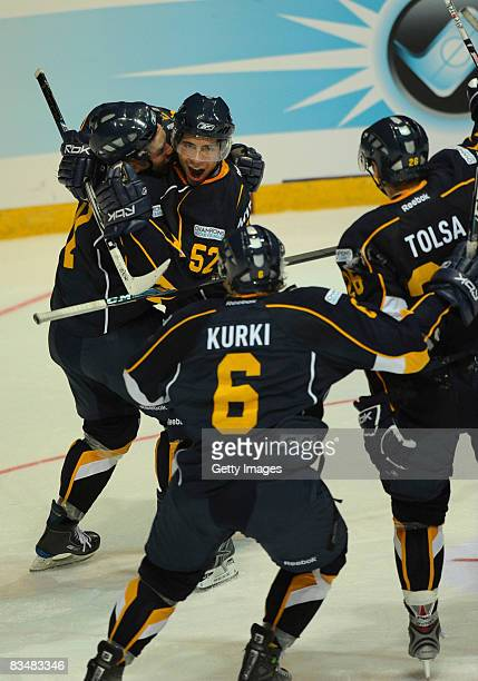 Camilo Miettinen celebrates with his team mates during the IIHF Champions Hockey League match between Espoo Blues and HV71 Jonkoping on October 29,...