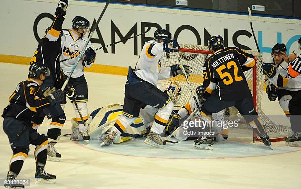 Camilo Miettinen of Espoo Blues tries to shoot a goal during the IIHF Champions Hockey League match between Espoo Blues and HV71 Jonkoping on October...