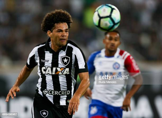 Camilo of Botafogo controls the ball during a match between Botafogo and Bahia as part of Brasileirao Series A 2017 at Nilton Santos Olympic Stadium...