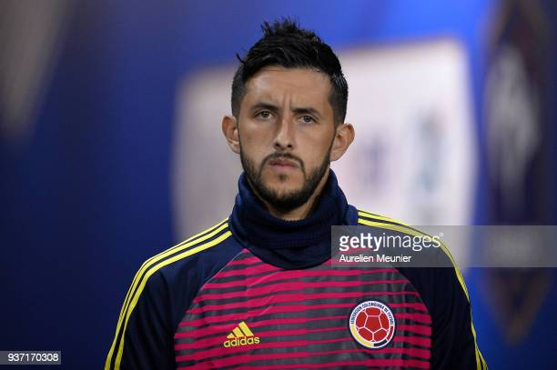 Camilo Vargas of Colombia reacts during warmup before the international friendly match between France and Colombia at Stade de France on March 23...