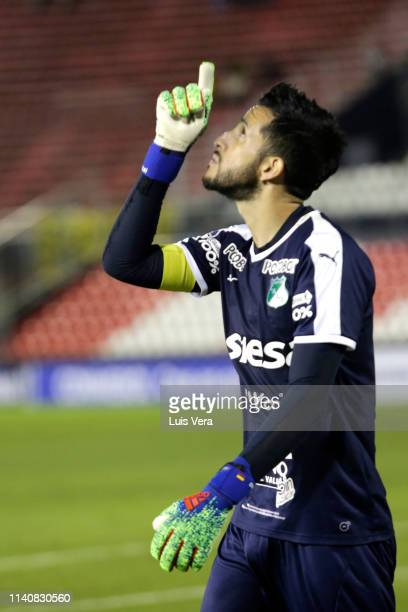 Camilo Vargas of Deportivo Cali looks up mduring a match between Guarani and Deportivo Cali as part of the first round of Copa CONMEBOL Sudamericana...