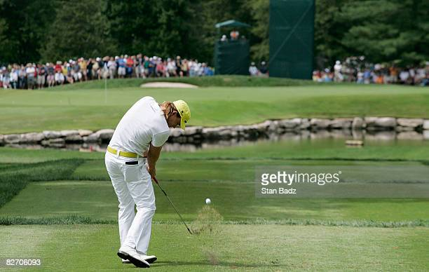 Camilo Villegas hits to the sixth green during the final round of the BMW Championship held at Bellerive Country Club on September 7 2008 in St Louis...