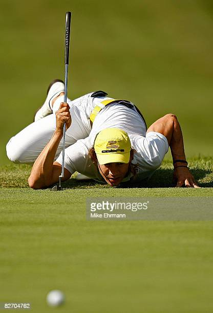 Camilo Villegas lines up a putt on the 16th hole during the final round of the BMW Championship on September 7 2008 at Bellerive Country Club in St...