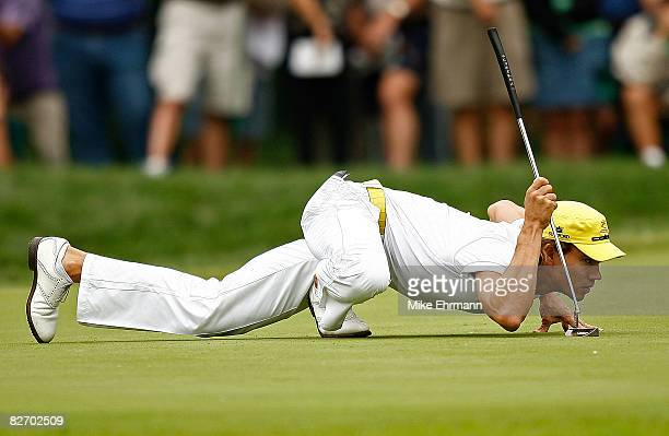 Camilo Villegas lines up a putt on the 4th hole during the final round of the BMW Championship on September 7 2008 at Bellerive Country Club in St...