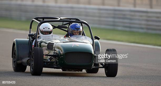 Camilo Villegas of Colombia driving a Caterham car during a race driving experience to the BIC venue for the Bahrain Formula 1 Grand Prix after the...
