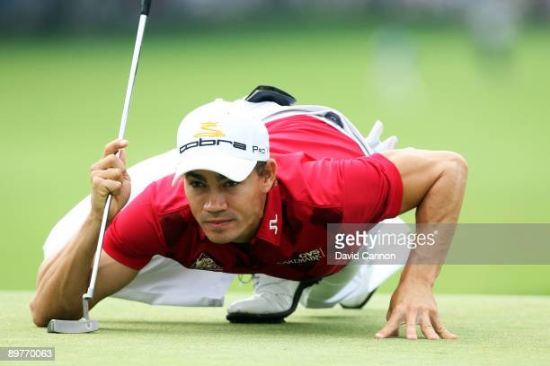 Camilo Villegas of Colombia lines up a putt on the 15th green during the first round of the 91st PGA Championship at Hazeltine National Golf Club on...