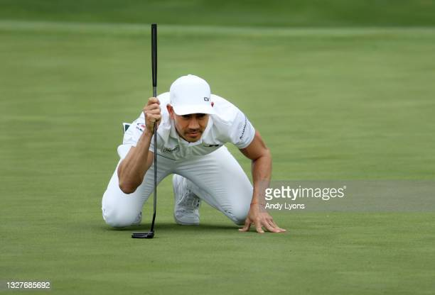 Camilo Villegas of Colombia lines up a putt on the 17th green during the first round of the John Deere Classic at TPC Deere Run on July 08, 2021 in...