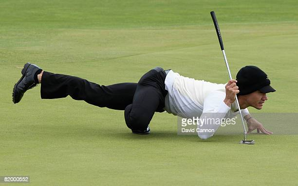 Camilo Villegas of Colombia lines up a putt on the 4th during the third round of the 137th Open Championship on July 19 2008 at Royal Birkdale Golf...