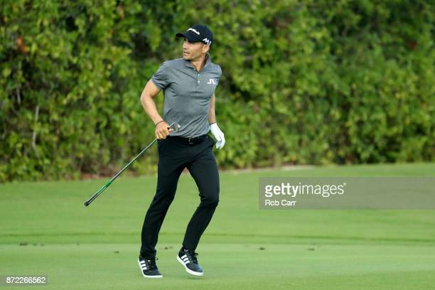 Camilo Villegas of Colombia plays a shot on the 16th hole during the first round of the OHL Classic at Mayakoba on November 9 2017 in Playa del...