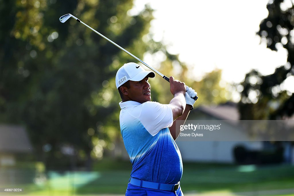 Camilo Villegas of Colombia plays his shot from the 14th tee during the second round of the Frys.com Open on October 16, 2015 at the North Course of the Silverado Resort and Spa in Napa, California.