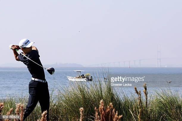 Camilo Villegas of Colombia plays his tee shot on the 14th hole during the second round of the RSM Classic at Sea Island Resort Seaside Course on...
