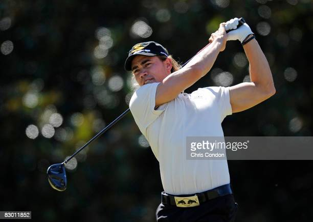 Camilo Villegas of Colombia tees off on the fifth hole during the first round of THE TOUR Championship presented by CocaCola the final event of the...