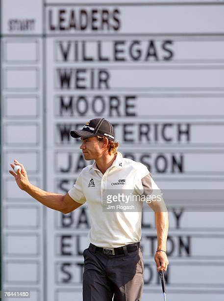 Camilo Villegas of Columbia birdies the 18th hole during the first round of Deutsche Bank Championship, the second event of the new PGA TOUR Playoffs...