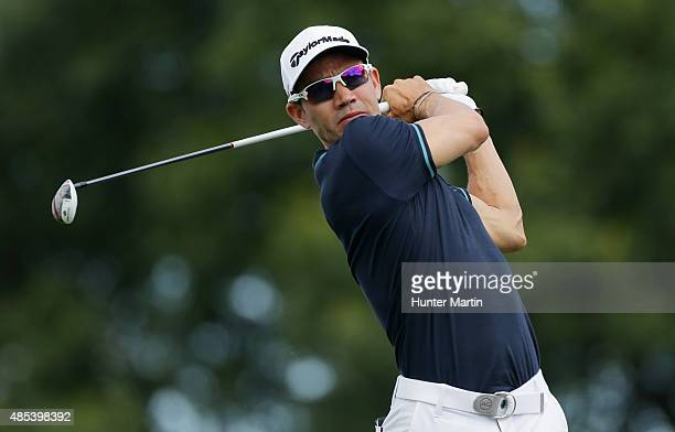 Camilo Villegas of Columbia hits his tee shot on the second hole during the first round of The Barclays at Plainfield Country Club on August 27 2015...