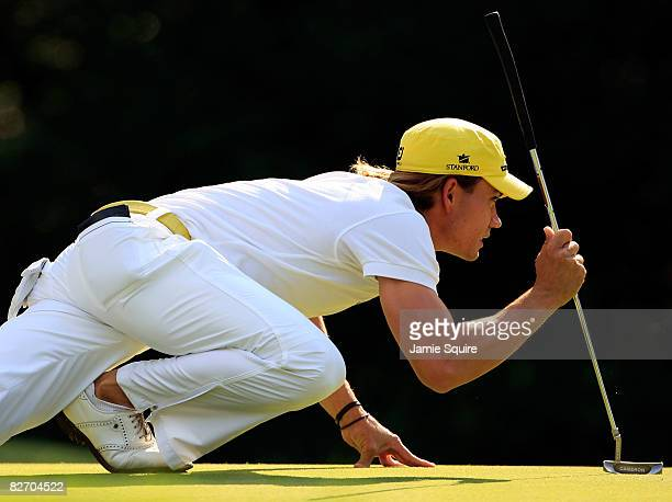 Camilo Villegas of Columbia lines up a putt on the 17th hole during the final round of the BMW Championship on September 7 2008 at Bellerive Country...
