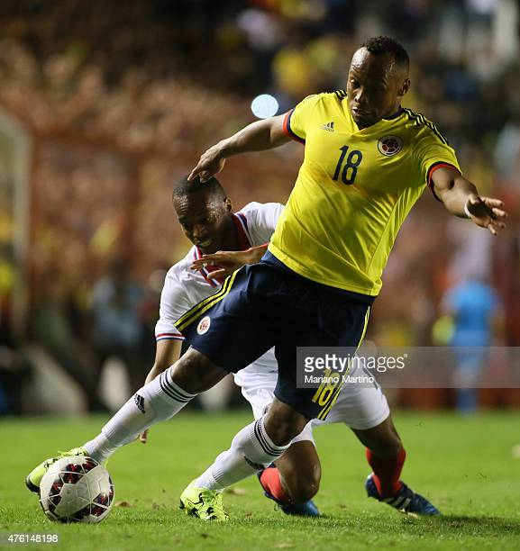 Camilo Zuñ–iga of Colombia and Junior Diaz of Costa Rica fight for the ball during a friendly match between Colombia and Costa Rica at Diego Armando...