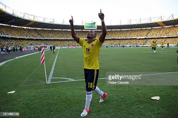 Camilo Zuñiga of Colombia celebrates a four goal during a match between Colombia and Uruguay as part of the South American Qualifiers for the FIFA...