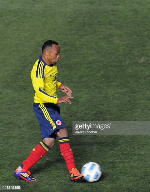 Camilo Zuniga from Colombia in action during a match between Colombia and Argentina as part of the group A of the Copa America 2011 at Brigadier...