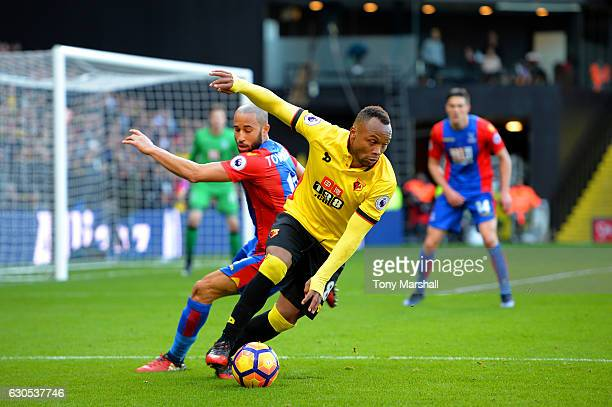 Camilo Zuniga of Watford battles for the ball with Andros Townsend of Crystal Palace during the Premier League match between Watford and Crystal...