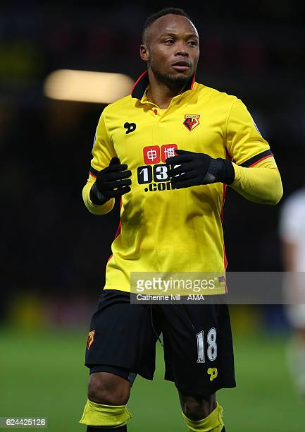 Camilo Zuniga of Watford during the Premier League match between Watford and Leicester City at Vicarage Road on November 19 2016 in Watford England