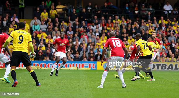 Camilo Zuniga of Watford scores their second goal during the Premier League match between Watford and Manchester United at Vicarage Road on September...