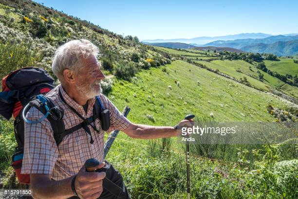 Camino de Santiago pilgrimage route Way of St James Elderly pilgrim in Galicia along the Camino frances pilgrimage route