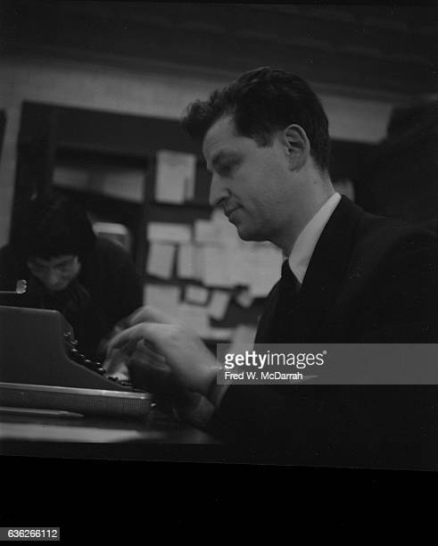 Camino Gallery director Bruno PalmerPoroner works on his typewriter New York New York January 25 1959