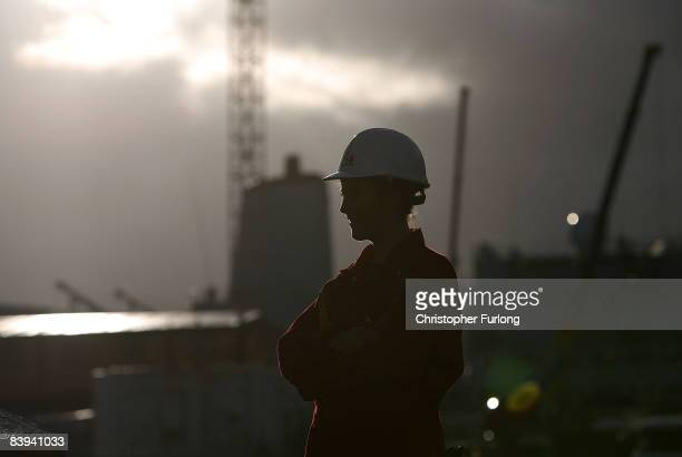 Cammell Laird apprentice Lacie Cudden aged 17 poses at the company's shipyard where she is learning traditional ship building skills on December 5 in...