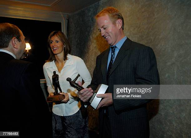 Cammi Granato and Brian Leetch share a laugh with NHL Commissioner Gary Bettman as they admire the 2007 Lester Patrick Award during a media...