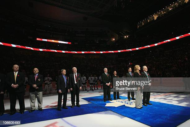 Cammi Granato, Jim Devellano, Dino Ciccarelli, Bob Seaman , and Angela James are honored for their induction into the Hockey Hall of Fame prior to...