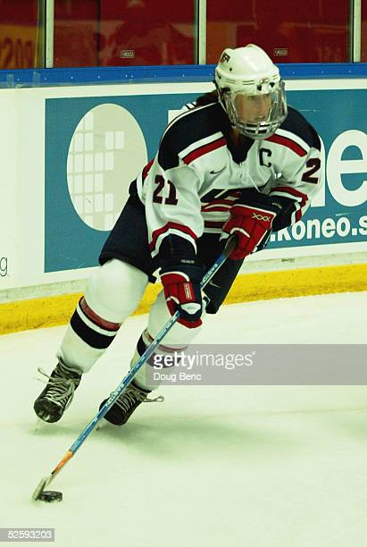 Cammi Granato of team USA handles the puck against team Germany in a IIHF World Women's Championships preliminary game at the Cloetta Center on April...