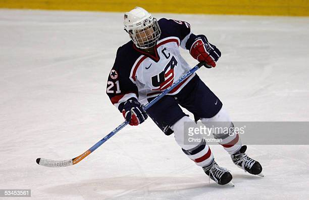 Cammi Granato of Team USA skates against Team Canada in a Women's Four Nations Cup game at the Gutterson Arena on November 11 2004 in Burlington...