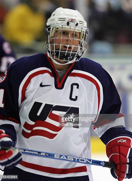Cammi Granato of Team USA skates against Team Canada in a Women's Four Nations Cup game at the Gutterson Arena on November 11, 2004 in Burlington,...