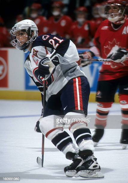 Cammi Granato of Team USA skates on the ice during an exhibition game against Team Canada during the NHL AllStar weekend on January 16 1998 at the...