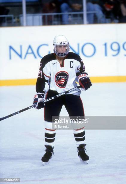 Cammi Granato of Team USA skates on the ice during the women's first round match at the 1998 Nagano Winter Olympics in February 1998 at the Aqua Wing...