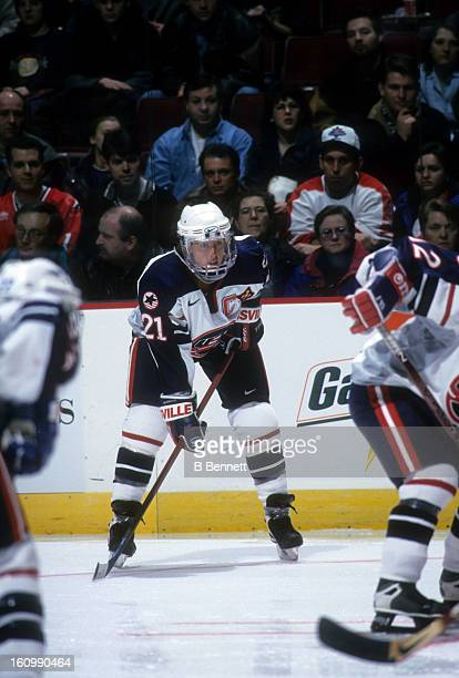 Cammi Granato of Team USA waits for the faceoff during an exhibition game against Team Canada during the NHL AllStar weekend on January 16 1998 at...