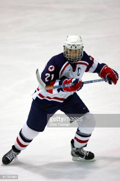 Cammi Granato of the USA in action against Canada during the Womens Four Nations Cup at Gutterson Arena on November 11 2004 in Burlington Vermont