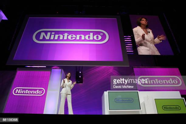 Cammie Dunaway Nintendo of America executive vice president of Sales Marketing presents the Nintendo DSi system at the Nintendo media briefing on...