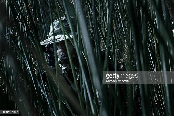 camoflagued soldier - camouflage clothing stock pictures, royalty-free photos & images
