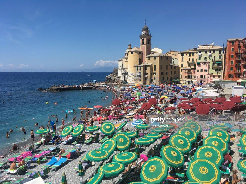 Camogli beach, Italian Riviera, Liguria, Italy : Stock Photo